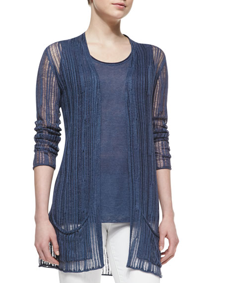 Linen Drop-Stitch Cardigan Sweater & Tank Twinset
