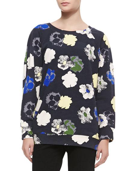 Raglan Graphic & Pixel Floral-Print Sweatshirt, Multicolor