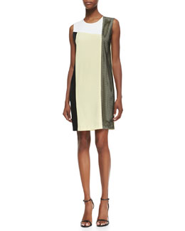 DKNY Sleeveless Colorblock Dress with Mesh Insert