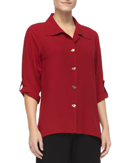 Caroline Rose Crepe Button-Front Shirt, Petite