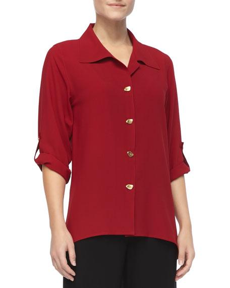 Crepe Button-Front Shirt, Petite