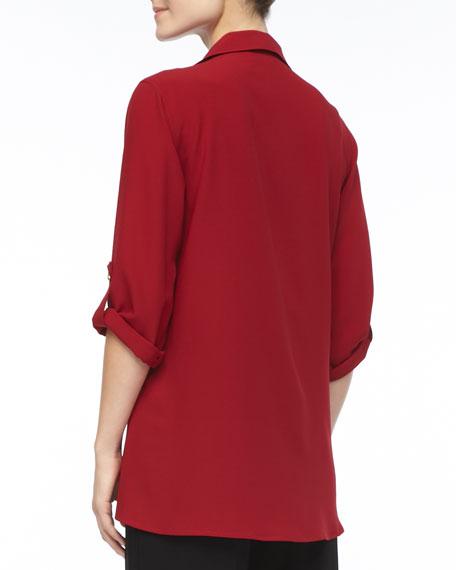 Crepe Button-Front Shirt