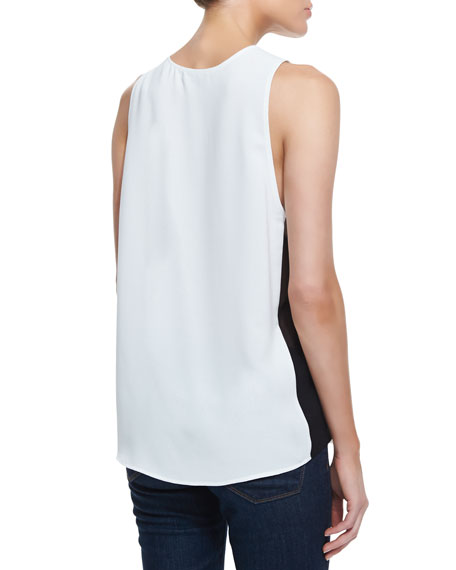 Stretch-Silk Colorblock Tank Top, Julep/Black/White