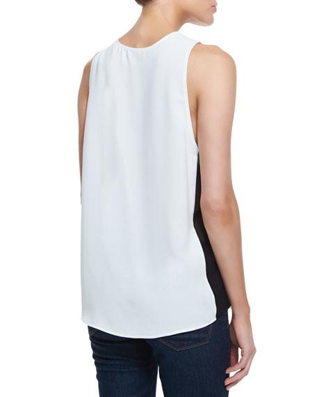 Stretch-Silk Colorblock Tank Top, Julep/Black/White