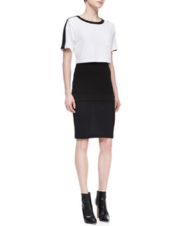 DKNY Short-Sleeve Colorblock Pop Top Dress, Black/White