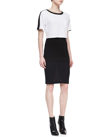Short-Sleeve Colorblock Pop Top Dress, Black/White