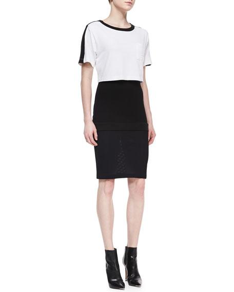 Short-Sleeve Colorblock Pop Top Dress, Black/White