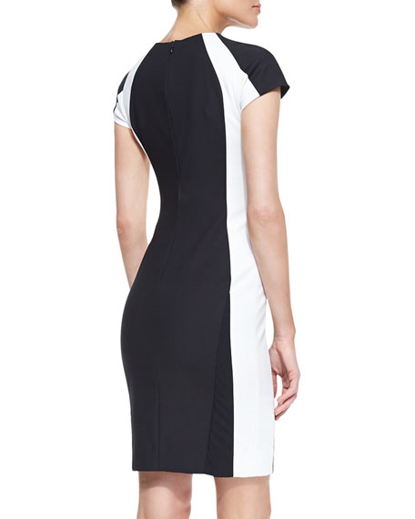 Colorblock Cap-Sleeve Sheath Dress, Black/White