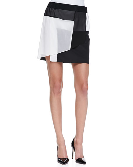 Pull-on Layered Colorblock Skirt