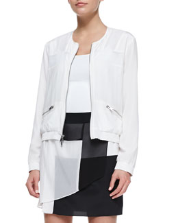 DKNY Long-Sleeve Zip-Front Jacket with Mesh Inserts