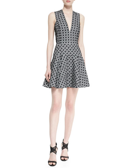 Sleeveless Printed Dress with Flared Skirt
