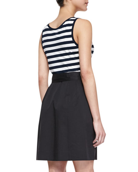 System Sleeveless Striped & Poplin Dress