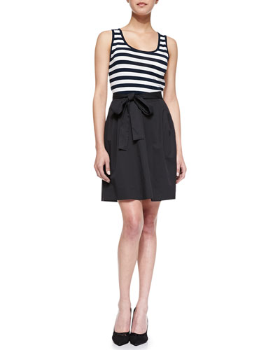 DKNY System Sleeveless Striped & Poplin Dress