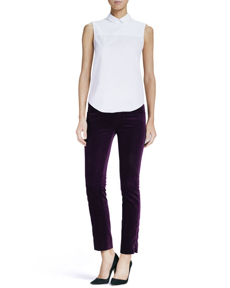Slim Velvet Ankle Pants