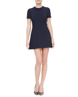 Victoria Beckham Denim Fit-and-Flare Tunic Dress
