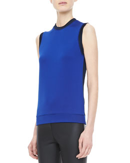 Victoria Beckham Denim Sleeveless Bicolor Knit Top