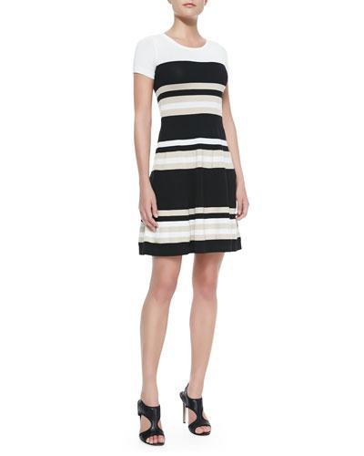 DKNY Striped Short-Sleeve Flare Dress