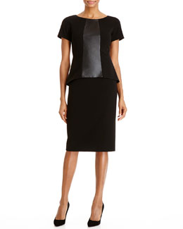 Lafayette 148 New York Alesandra Faux-Leather Paneled Dress