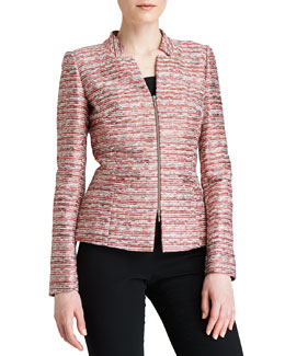 Lafayette 148 New York Batina Woven Zip-Front Jacket