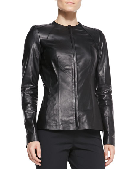 Zia Zip Leather Jacket, Black