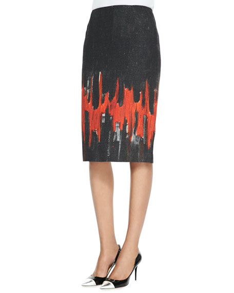 Modern Slim Skirt with Flame Print