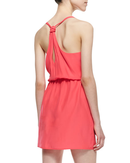 V-Neck Knotted Strap Dress, Electric Rouge