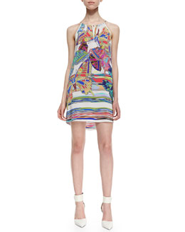 Amanda Uprichard Butterfly-Print Chain-Threaded Halter Dress, White Multi