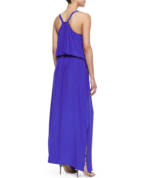 Draped Ring-Looped Maxi Dress, Royal