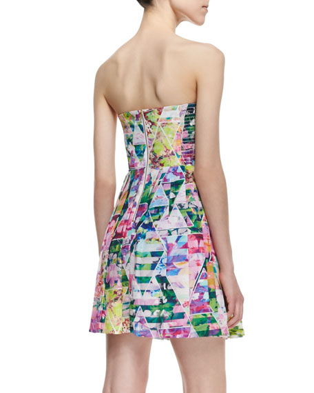 Strapless Geometric Garden-Print Dress