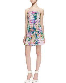 Amanda Uprichard Loves Cusp Strapless Geometric Garden-Print Dress