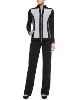 Neiman Marcus Striped Jacket & Solid Pant Jogset, Women's