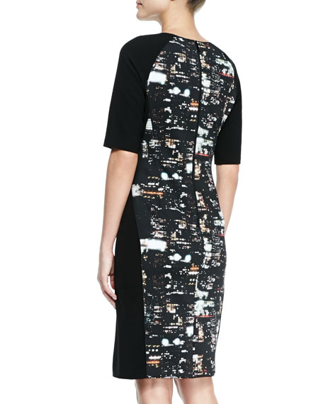 Faryn City Lights Combo Sheath Dress