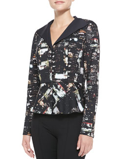 Lafayette 148 New York Amanda Cityscape Night-Print Jacket