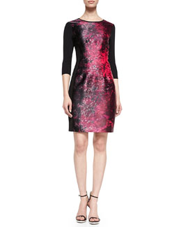 Elie Tahari Ayana 3/4-Sleeve Jacquard Dress