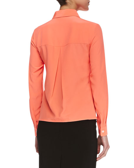 Long-Sleeve Utility Blouse, Orange