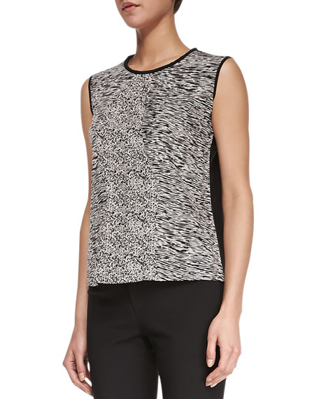Waverly Sleeveless Mixed-Media Tank, Ivory/Static Black