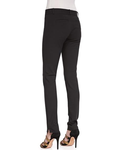 Skinny Vented-Hem Pants, Black