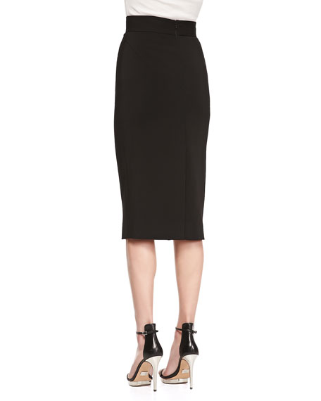Long Stretch Knit Pencil Skirt, Black