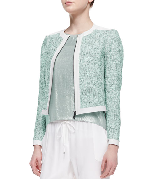 Pearson Cropped Zip-Front Jacket, Multicolor