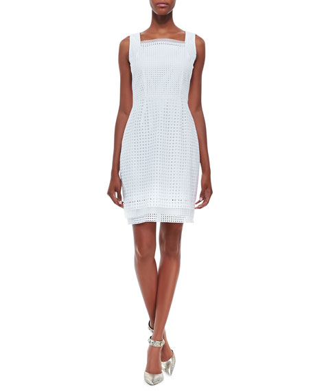 Erin Sleeveless Eyelet Sheath Dress, White