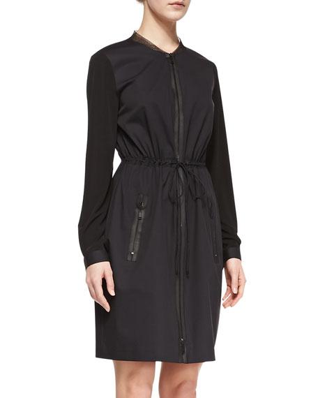 Jennifer Long-Sleeve Zip Shirtdress, Black