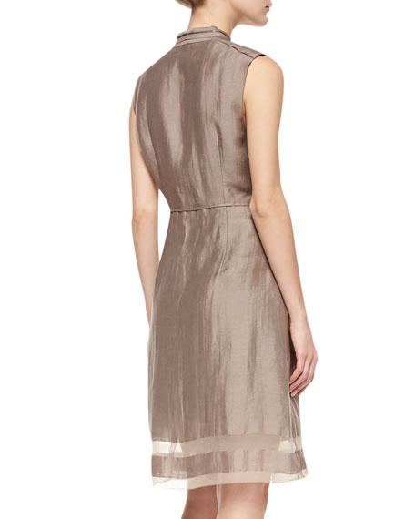 Emma Sleeveless Sheer-Hem Dress, Sandstone