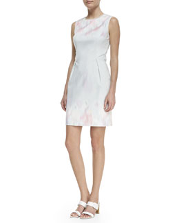 Elie Tahari Holly Sleeveless Garden Party Impression Dress, Multicolor