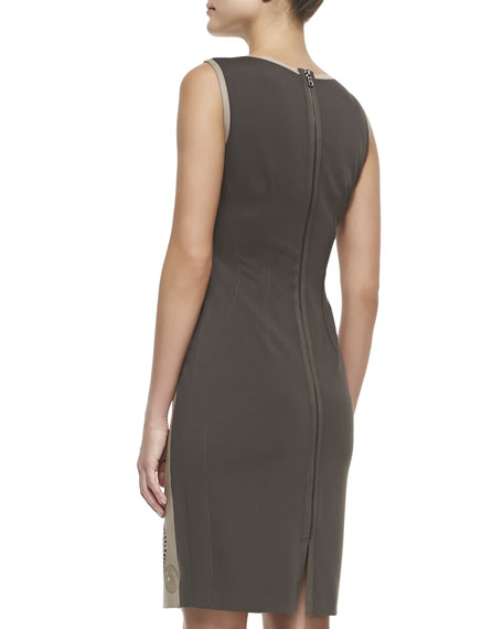 Mila Leather-Front Circular Cutouts Dress, Sandstone