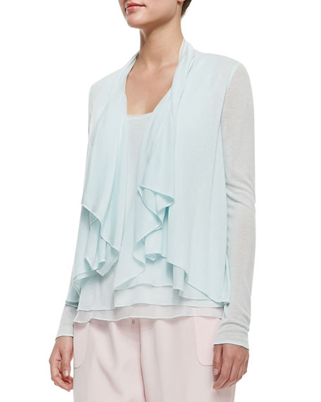 Farrell Long-Sleeve Draped Ruffle-Front Blouse, Soft Sky