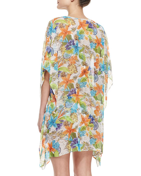 Map & Floral-Print V-Neck Coverup Tunic