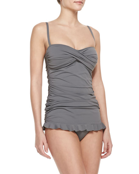 Twisted-Bandeau Shirred One-Piece Swimdress