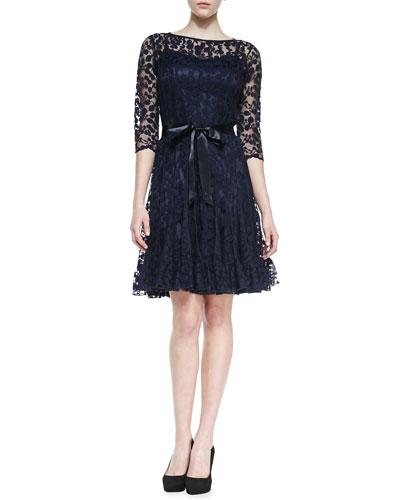 Rickie Freeman for Teri Jon 3/4-Sleeve Lace Overlay Cocktail Dress, Navy