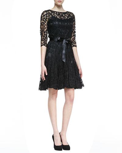Rickie Freeman for Teri Jon 3/4-Sleeve Lace Overlay Cocktail Dress, Black