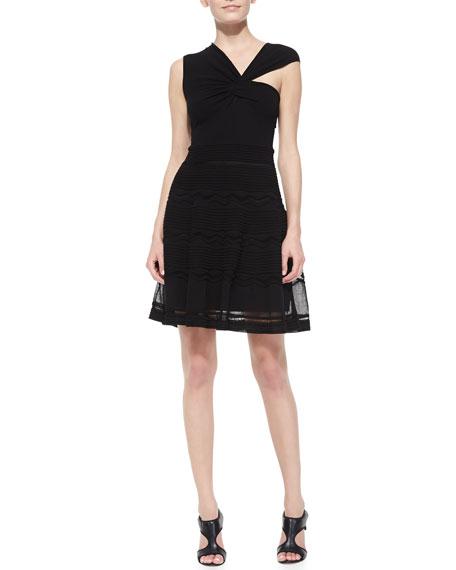 Solid Rib Stitch Asymmetric Dress